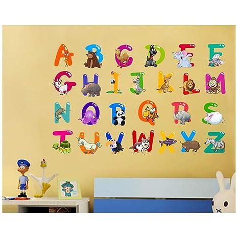 Adesivi Murali Con Animali.Ufengke Alfabeto Lettere Arte Con Animali Adesivi Murali