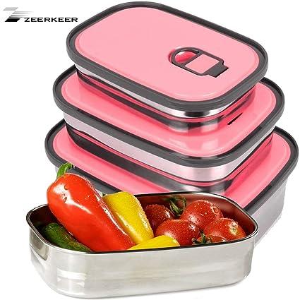 ZEERKEER Fiambreras de acero inoxidable sin BPA 3 fiambreras de diferentes tamaños Set de recipientes para adultos (niños)