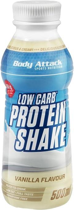 Body Attack - Batido de proteínas Low Carb, vainilla, 6 unidades (6 x 500 ml)