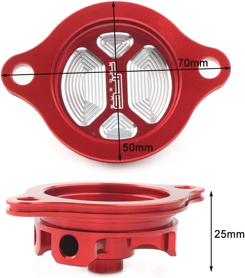 Three T CNC Aluminum Oil Filter Cap Cover Compatible with Honda CRF250R 2004-2009 Red CRF250X 2004-2017