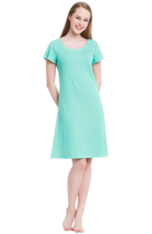 Alexander Del Rossa Womens Cotton Knit Nightgown, Short Sleeve Sleep Dress, XX-Large Sea Glass (A0407SEA2X)