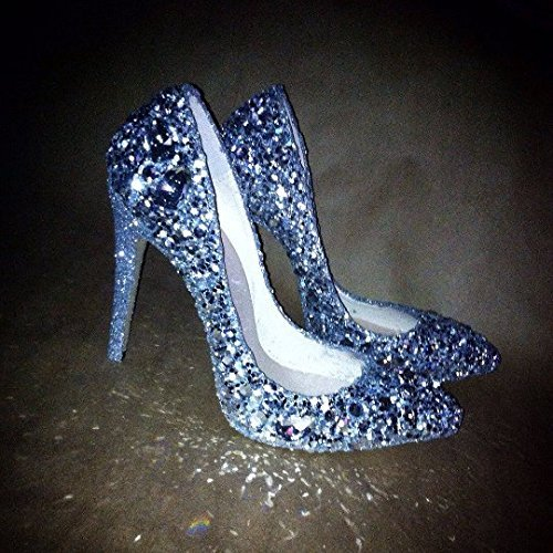 Jeweled and shimmered special occasion heels, completely custom made. Sparkly bridal heels in any color. Bling heels for engagement party, bridesmaids, flower girls, fancy party shoes