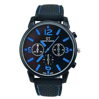 18cf304a30 Homme Électronique Montre De Poignet De Quartz Analogique Lolittas Design  Rétro éLéGant De Luxe En Cuir De Sports De Quartz 24 Hours (Bleu):  Amazon.fr: ...