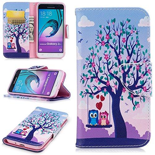 Para Samsung Galaxy J3 2017/J320 funda, (Mariposa grande) caja del teléfono de la PU patrón en pintado ,Función de Soporte Billetera con Tapa para Tarjetas soporte para teléfono El búho pareja bajo el árbol