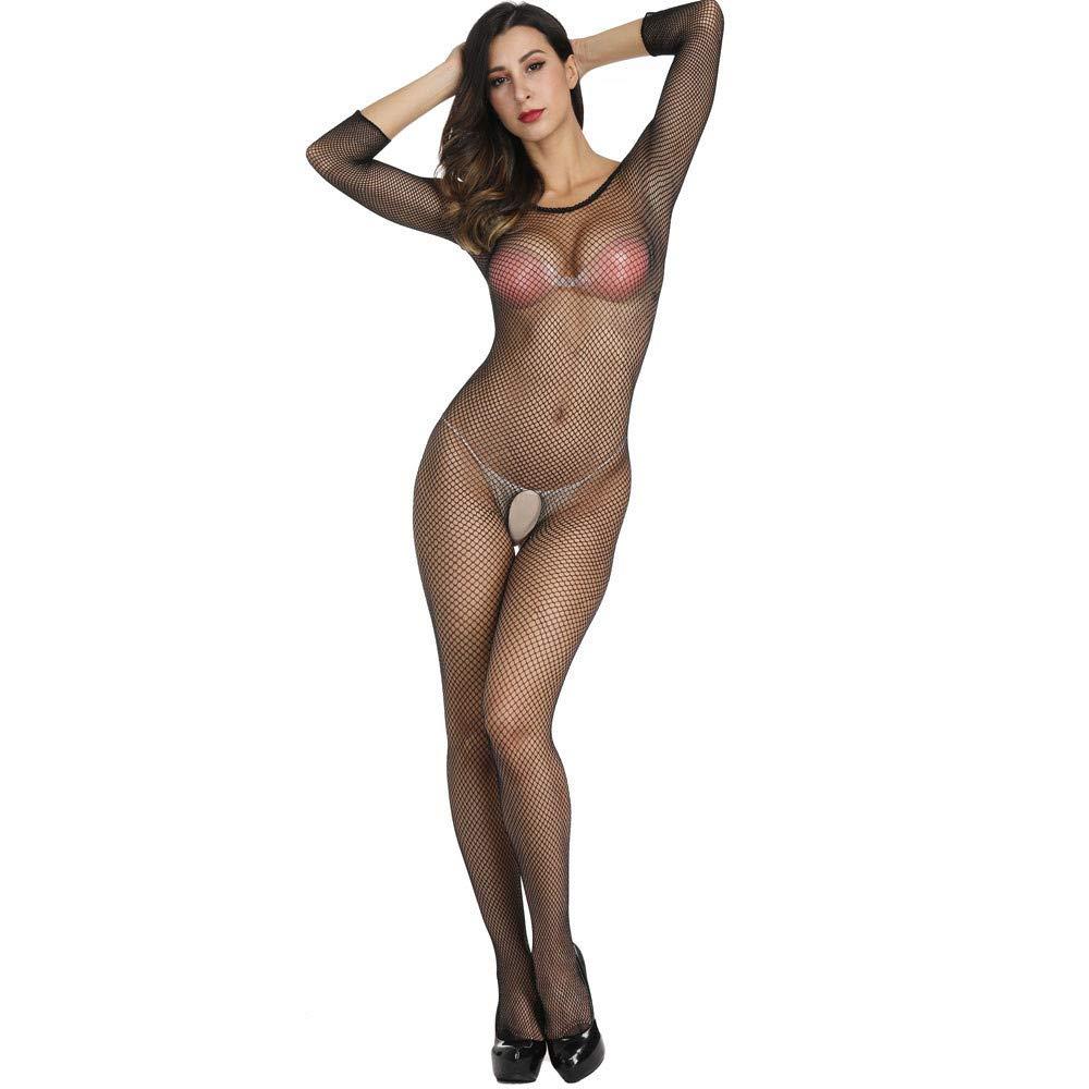 Axiba Women's Plus Size Fishnet Body Stockings Striped Lingerie Crotchless Bodysuits Tights Suspenders (Black) by Axiba_Sleepwear (Image #3)
