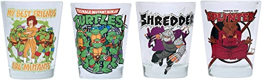 Teenage Mutant Ninja Turtles NT031SG7 Friends and Villains 1.5 Ounce Mini Glass Set, 4-Pack, 1.5 oz, Multicolor