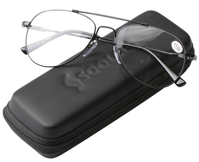 5c20a85496db SOOLALA Memory-metal Frame Reading Glasses Aviator Eyeglasses Customized  Strengths (Black