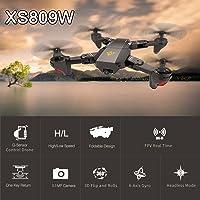 Docooler VISUO XS809W WiFi FPV 0.3MP Camera Foldable 2.4G 6-Axis Gyro Selfie Drone RC Quadcopter G-Sensor RTF
