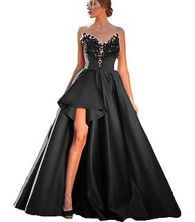 Liyuke A-line Hi Low Prom Dresses Appliqued Evening Dress Formal Gowns Long