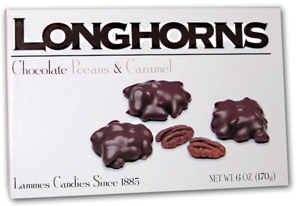 Lammes Candies Milk Chocolate Longhorns - Milk Chocolate Pecans & Caramel, 6 Oz. (Pack of 2) by LAMMES