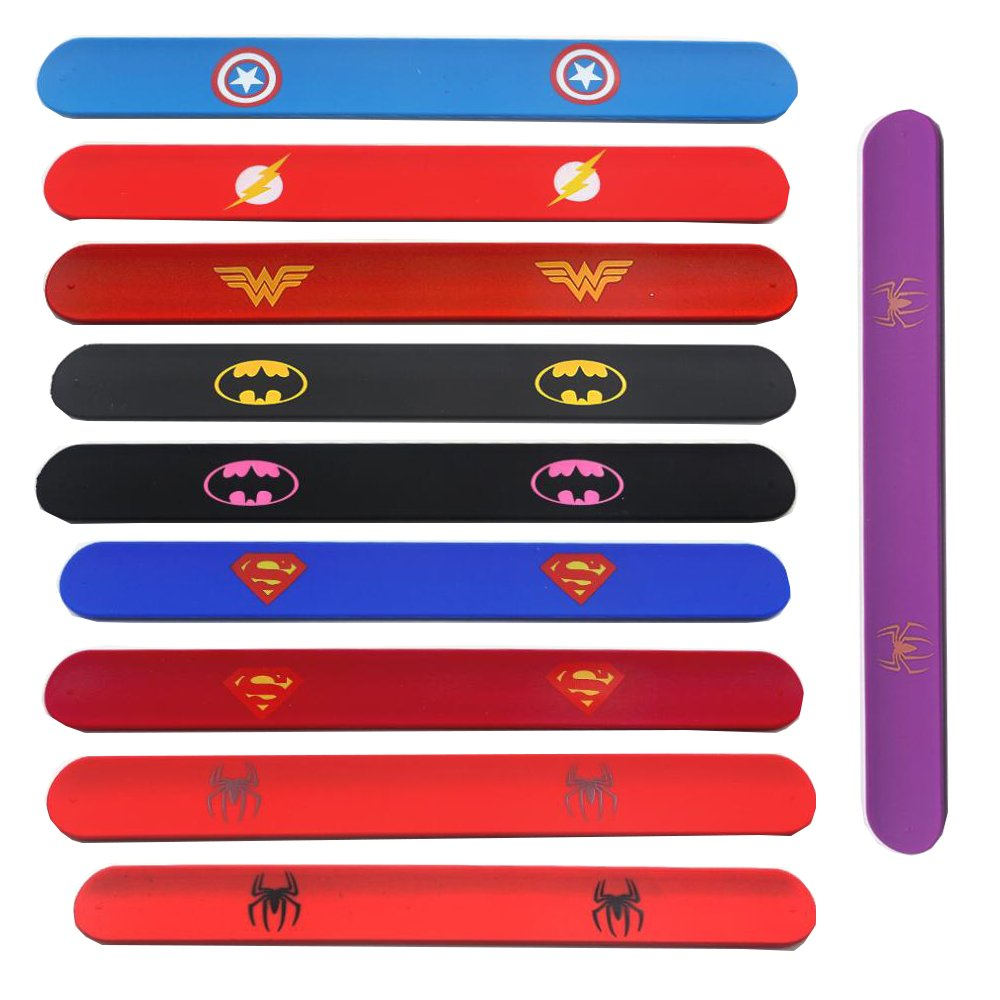 Southstar Bracelet Bands for Kids, 10pcs Superheroes Slap Bands Party Bag Fillers Slap Bracelets Set for Kids Boys & Girls Birthday Party Favors