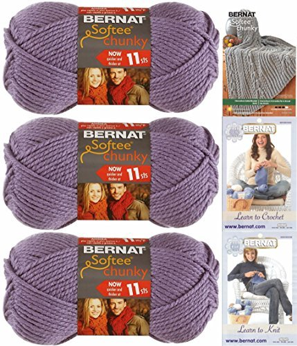 Bernat Softee Chunky Yarn Bundle Super Bulky #6, 3 Skeins Lavender - Free Yarn Patterns Knitting Chunky