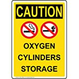 ComplianceSigns Vertical Plastic OSHA CAUTION Oxygen Cylinders Storage Sign, 10 X 7 in. with