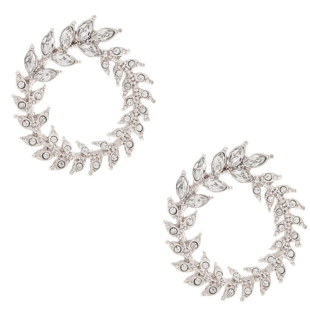 Icing Womens Silver Rhinestone Wreath Stud Earrings