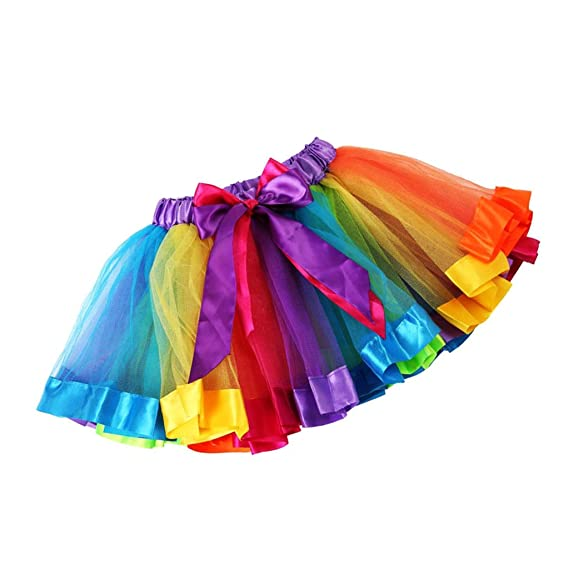 c0852d540 Phenovo Girl's Handmade Rainbow Tulle Tutu Mini Skirt (RC_5500286,Small)