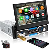 Podofo Android Single Din Touchscreen Car Stereo in-Dash GPS Head Unit 7 inch Flip Out Radio with Bluetooth Backup Camera Sup