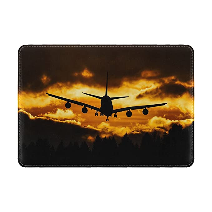 Airplane Sky Flight Leather Passport Holder Cover Case Travel One Pocket