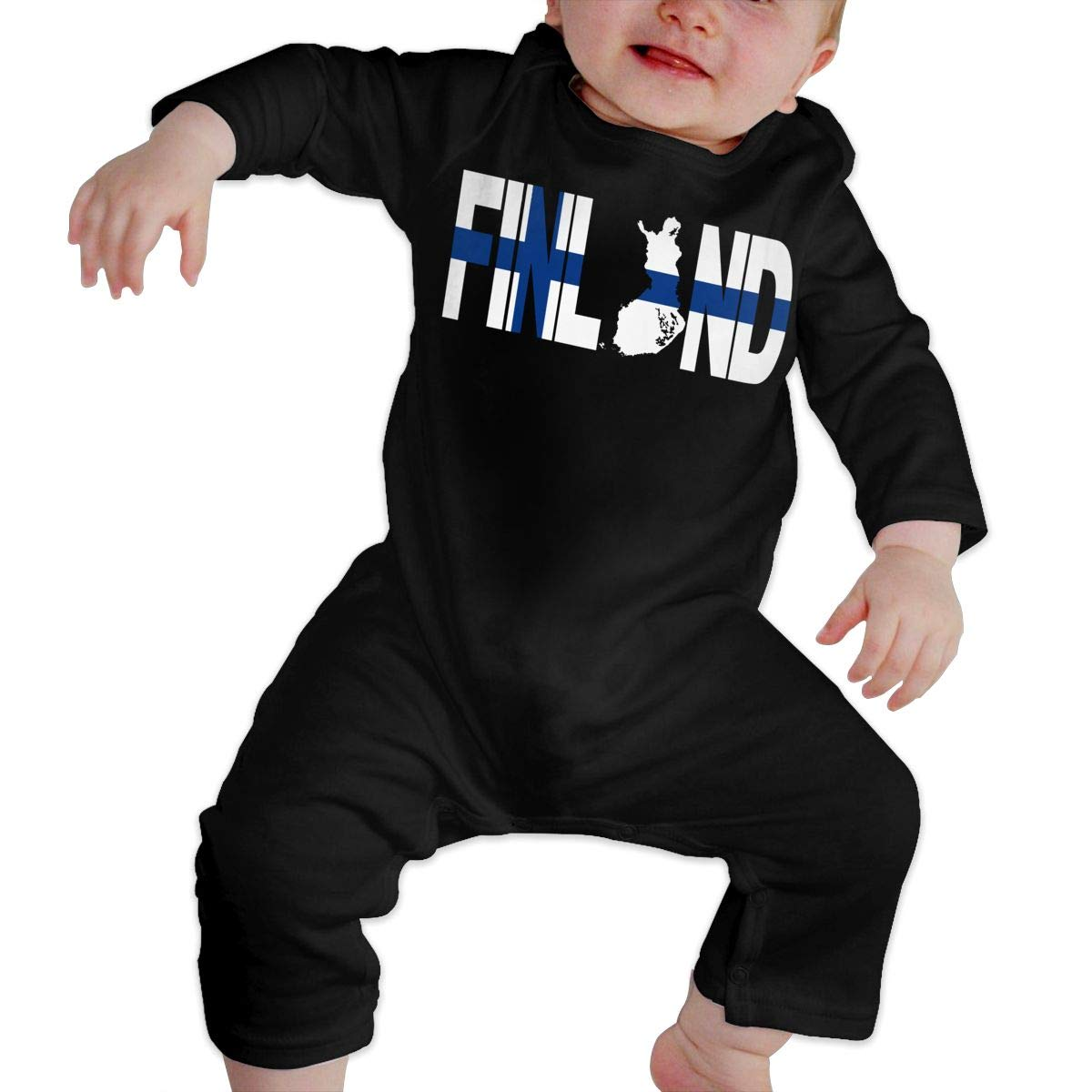 A1BY-5US Baby Infant Toddler Cotton Long Sleeve Finland Text with Map Climb Romper Funny Printed Romper Clothes