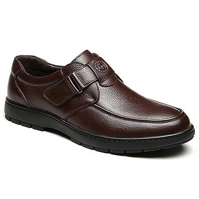 8087a16bca7 Homme Chaussure de Cuir Souple de Scratch au Loisir pour Papa Plate Basse Chaussure  de Marche de la Ville de Travail Confortable  Amazon.fr  Chaussures et ...