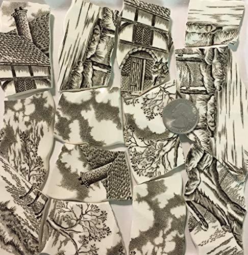 Mosaic Art & Crafts Supply ~ Brown & White Vintage Transferware Rim Tiles (B920)