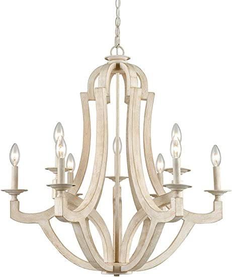 CLAXY 9 Light Wood Chandeliers Distressed Off-White Candelabra Farmhouse Chandelier