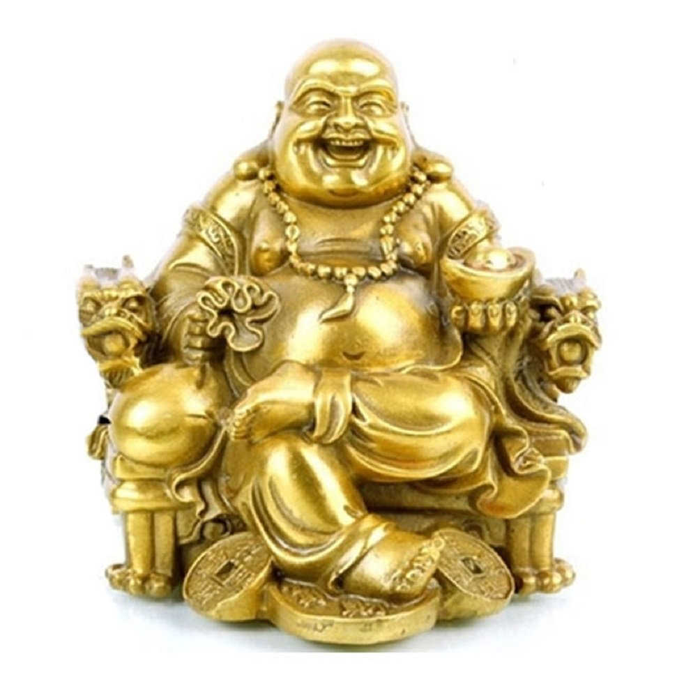 Fengshui Buddha Statue for Lucky & Happiness God of Wealth,Laughing Buddha on Emperor`s Dragon Chair,Brass Buddhist Statues and Sculptures Home Decor Congratulatory Gifts (Medium)