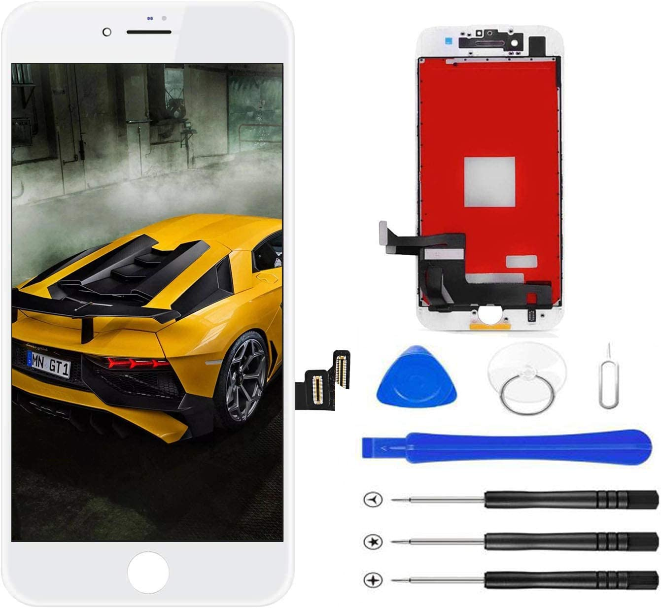 Magic Screen for iPhone 7 Plus Screen Replacement, LCD Display Touch Screen Digitizer Frame Assembly Set with 3D Touch and Repair Tools(White)
