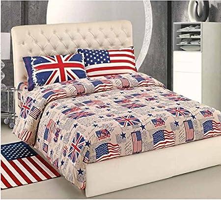 Copripiumino Singolo Bandiera Inglese.Copripiumino Singolo Sacco Bandiere Flag Usa Uk Cotone Made In