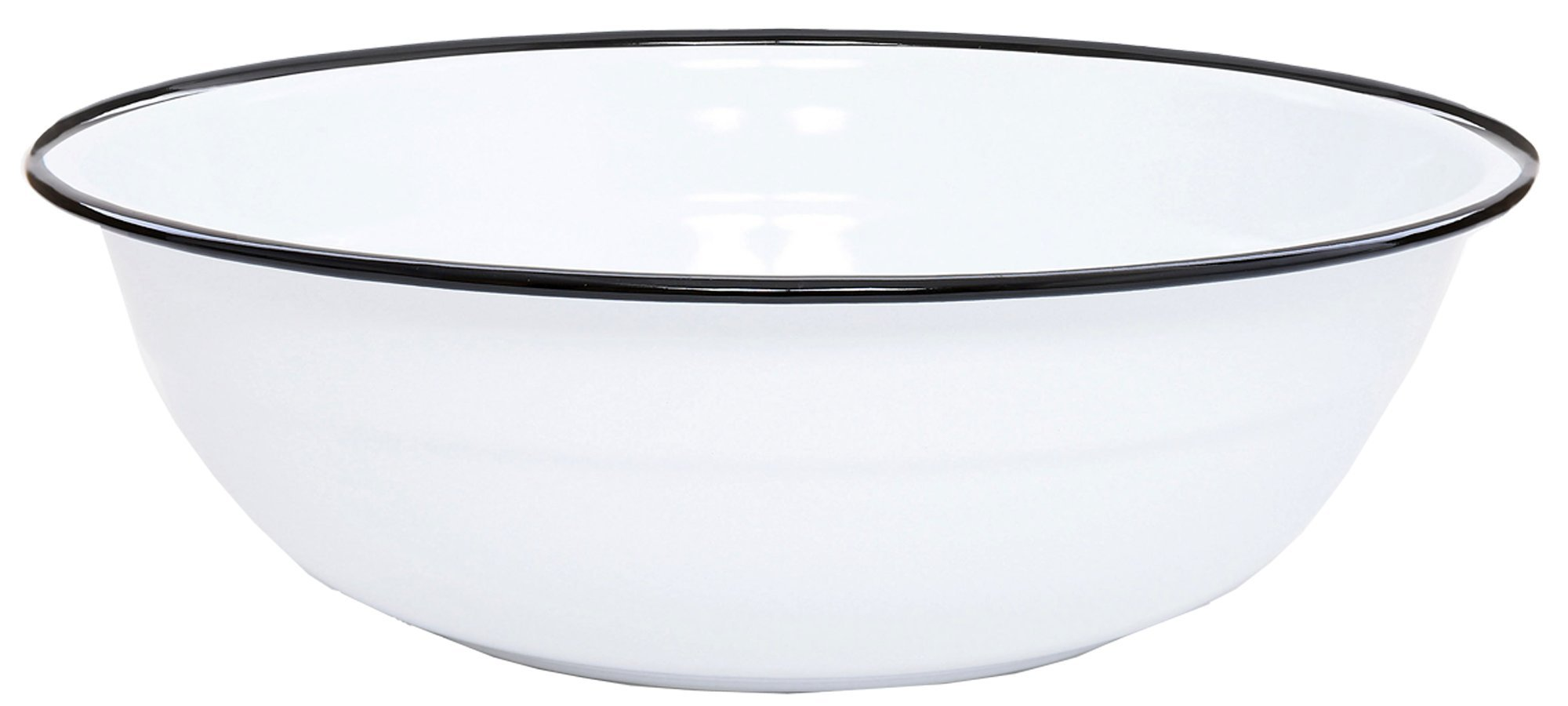 Enamelware Basin, 8 quart, Vintage White/Black