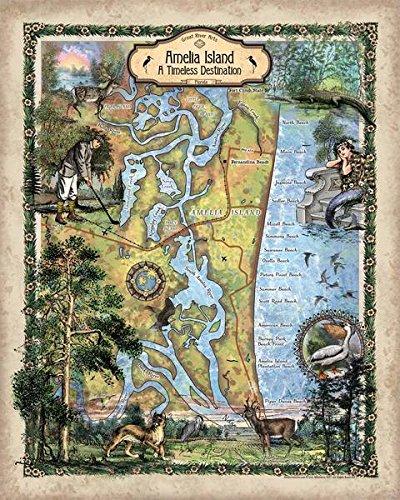 Amazon.com: Great River Arts Amelia Island Map Wall Art Print ...