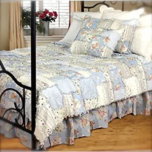 Amazon King Bed Vintage Blue Rag Quilt Set Shabby