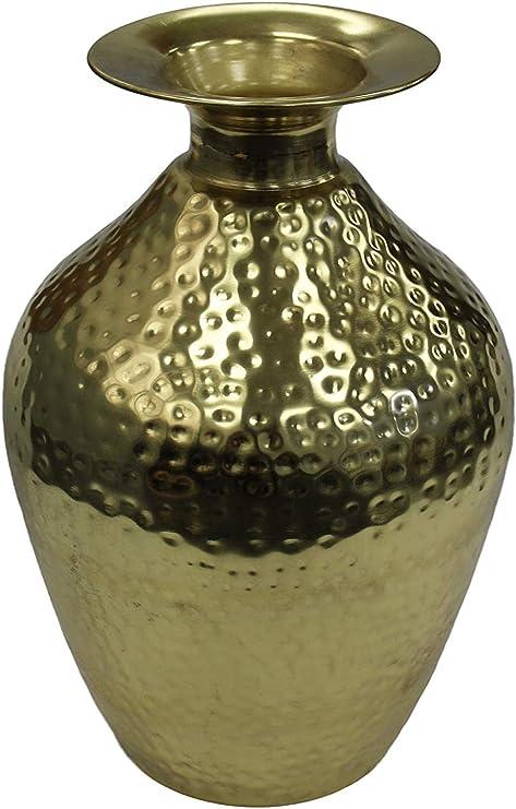 Vase de bouteille en bronze martel/é 33 cm de haut