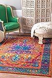 nuLOOM RZBD57A Persian Fancy Velva Area Rug, 4' x 6', Orange