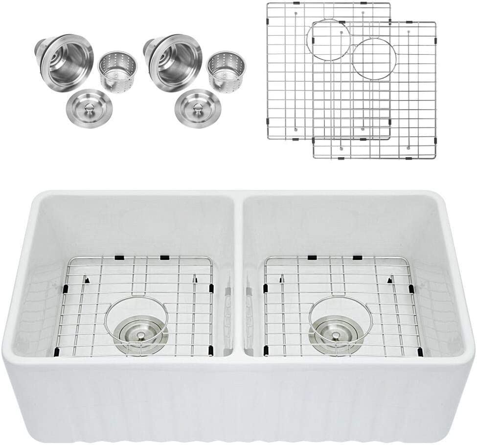 "Sarlai 33"" Double Bowl Farmhouse White Porcelain Ceramic  Fireclay Apron-Front Kitchen Sink"
