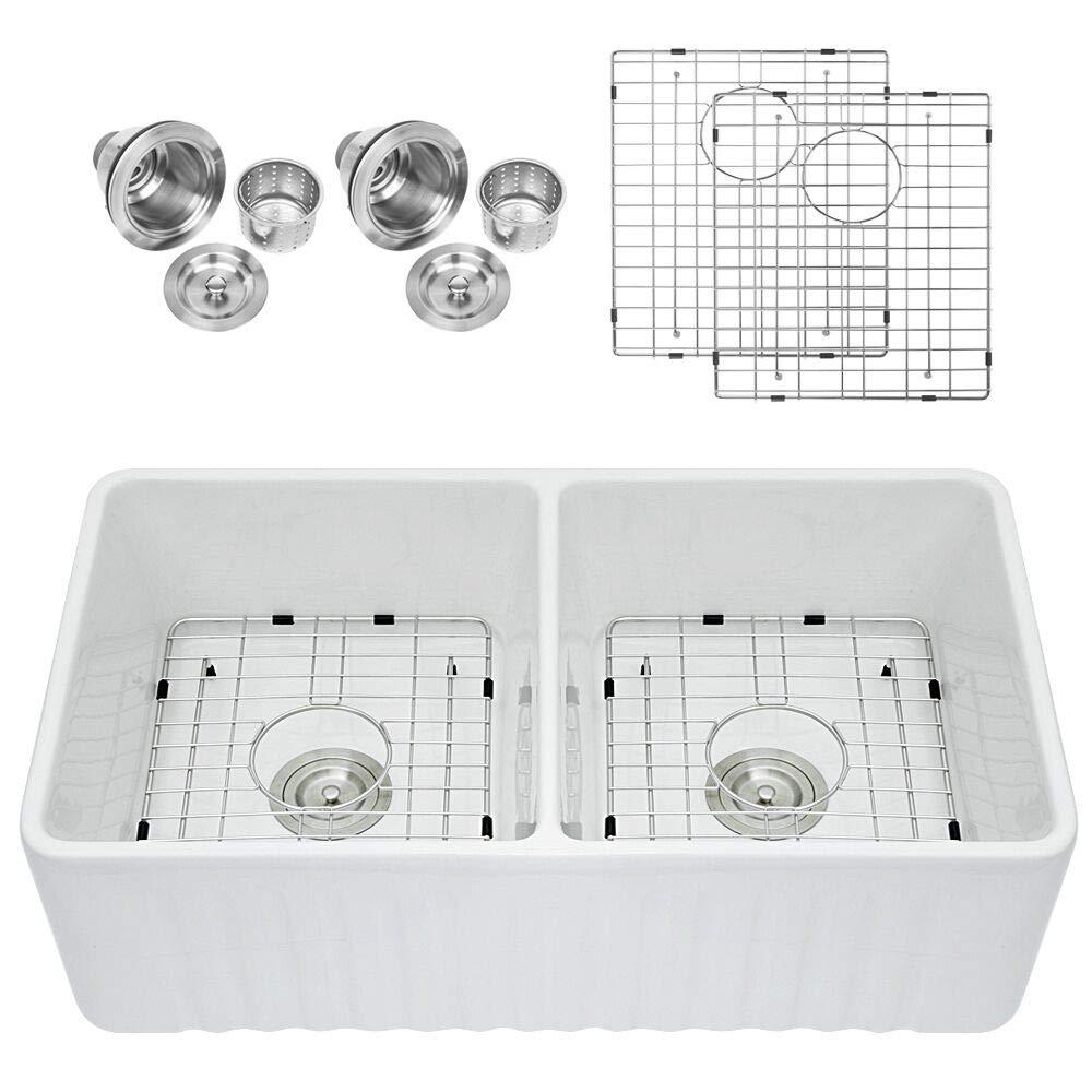 Sarlai 33'' Double Bowl FarmhouseWhite Porcelain Ceramic Fireclay Apron-Front Kitchen Sink