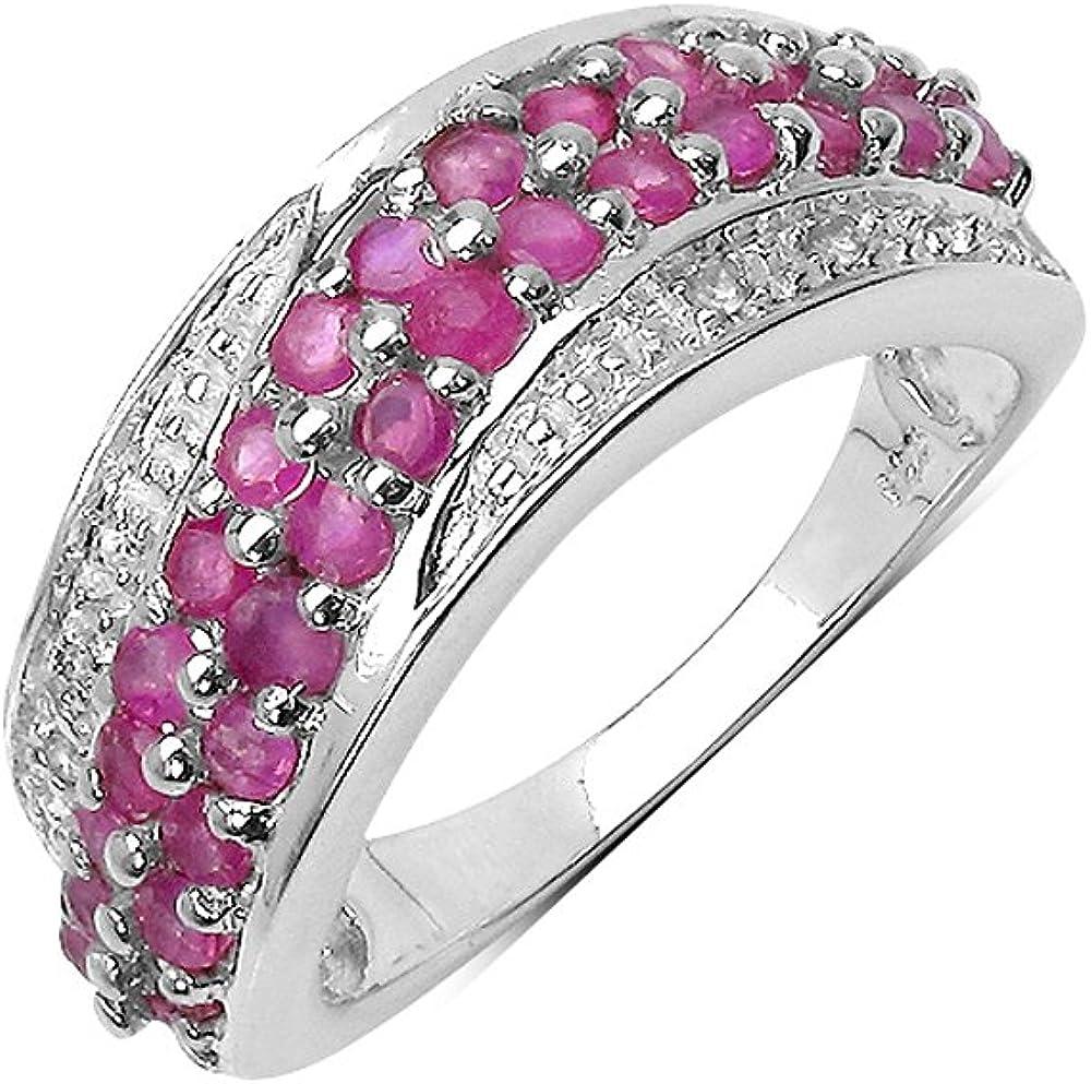 Silvancé - Anillo de mujer - plata esterlina 925 bañada en rodio - auténtico piedras preciosas: Ruby ca. 1.18ct. - R1365R_SSR