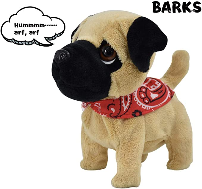 Weofferwhatyouwant Pug Puppy Plush Electronic Toy Dog Small Size Walks Barks And Cuddles Ages 18 Months Toys Games