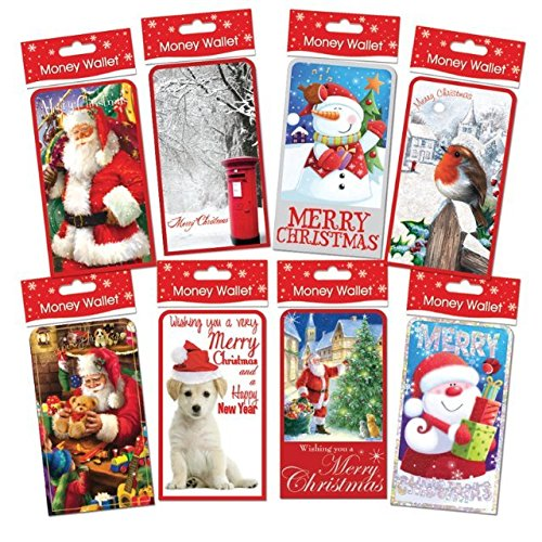 Xmas Christmas Money Wallets Gift Voucher Card & Envelope Presents Self Sealing