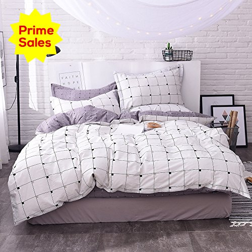 ORoa featherweight Cotton Duvet Cover Sets for Teens Adults 3 Piece reversible Plaid home Textile Bedding Set utilizing Pillow Shams (Twin, pattern 6)