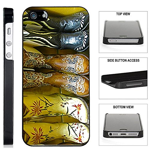 Basic Costumes Boots ([TeleSkins] - Cowgirl Boots - iPhone 5 / 5S Black Plastic Case - Ultra Durable Slim & HARD PLASTIC Highly Protective Vibrant Snap On Designer Back Case / Cover for Girls. [Fits iPhone 5 / 5S])
