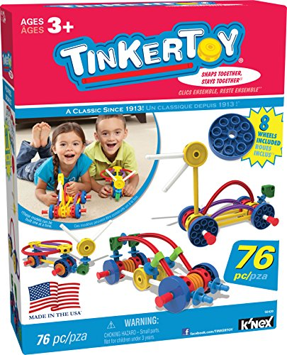 engineering toys for 3 year olds TINKERTOY – Wild Wheels Building Set – 76 Pieces – Ages 3+ – Preschool Educational Toy