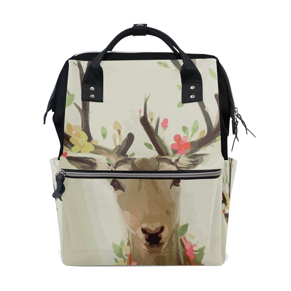 Diaper Bags Backpack Purse Mummy Backpack Fashion Mummy Maternity Nappy Bag Cool Cute Travel Backpack Laptop Backpack with Watercolor Animal Deer Daypack for Women Girls Kids