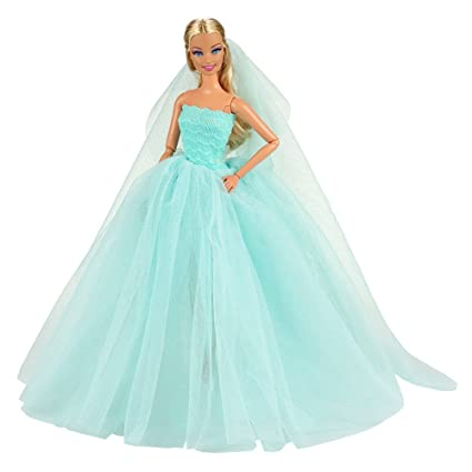 Amazon.com: Barwa Light Blue Wedding Dress with Veil Evening Party ...