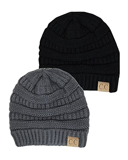 9aa41168113 Black Thick Slouchy Knit Oversized Beanie Cap Hat