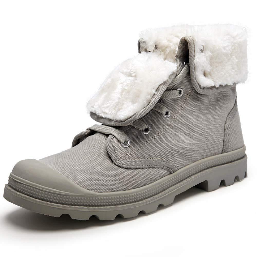 HYLFF Männer Frauen Stiefeletten Winter Schnee Warme Stiefel Pelz Gefüttert Lace Up Comfy Ankle Casual Stiefel Flache Outdoor Martin Stiefel