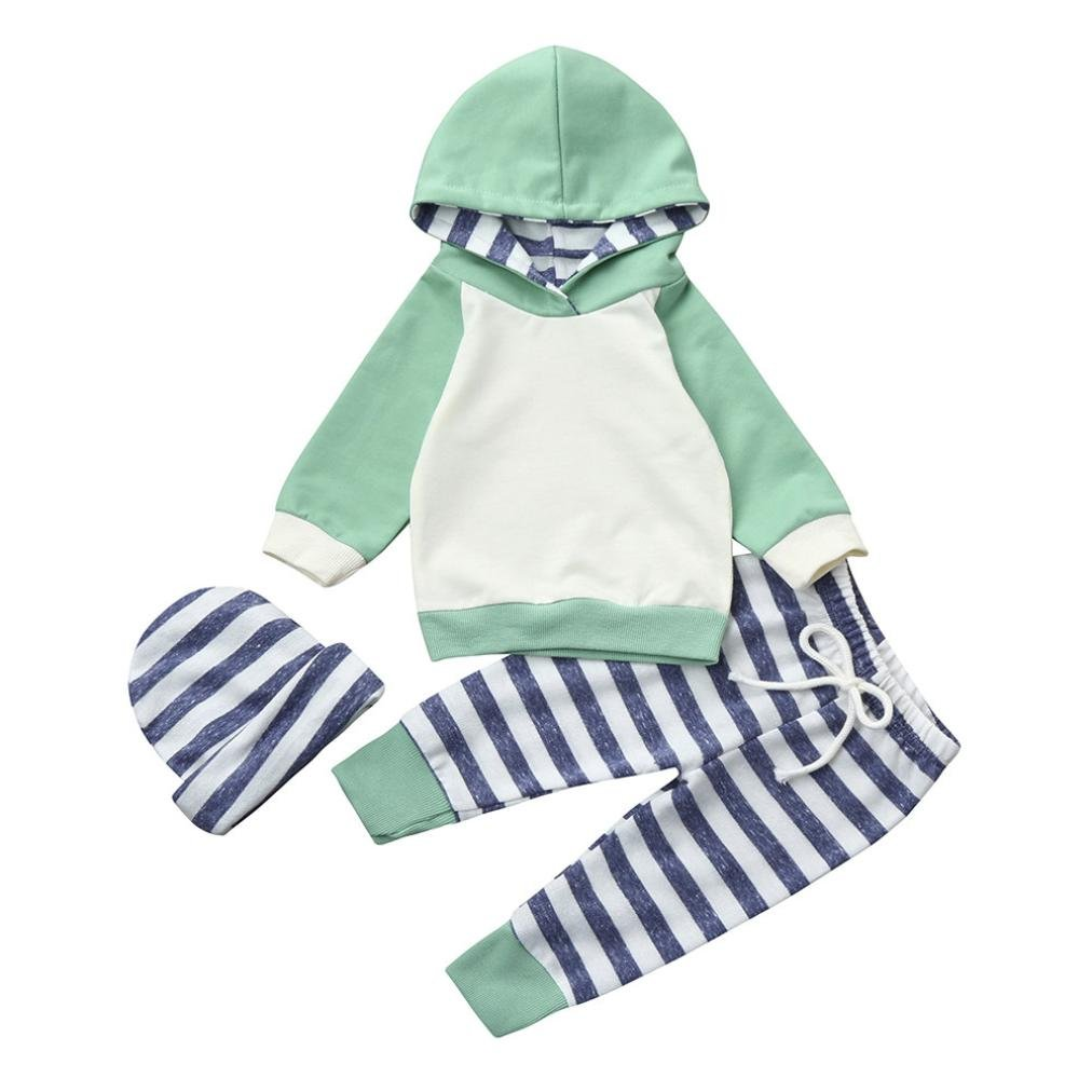 Jchen(TM) Newborn Infant Baby Boy Girl Long Sleeve Striped Hooded Tops+ Pants+Hat 3pcs Adorable Clothes Set for 0-24 Months (Age: 0-3 Months)