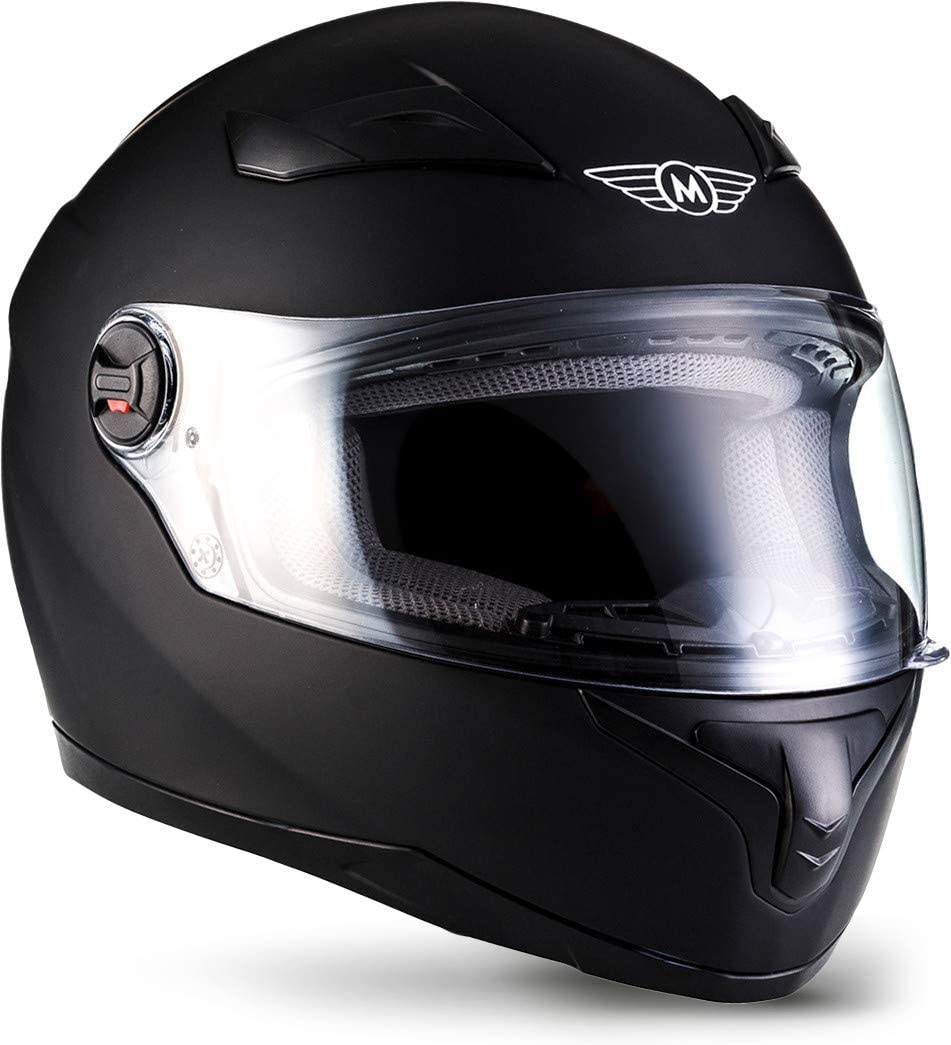 MOTO X86 Casco Integrale Motocicleta, ECE certificado, Visera incluyendo Bolsa de Casco, L (59-60cm), Mate Negro