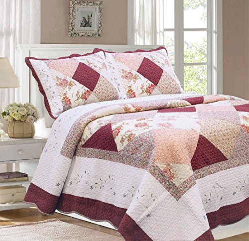 Cozy Line Home Fashions Floral Real Patchwork Burgundy Red Coral Pink Country, 100% COTTON Quilt Bedding Set, Reversible Coverlet Bedspread, Scalloped Edge,Gifts for Women (Georgia, Twin - 2 piece) by Cozy Line Home Fashions (Image #5)