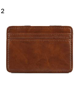 Infgreate Stylish And Practical Purse Men's Business Faux Leather Money Clip Card Holder Slim Bifold Magic Wallet