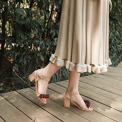 Jqdyl High Heels Weibliche Sandalen Sommer Grob High Heels Mit Mode Casual  35|5cm aprico